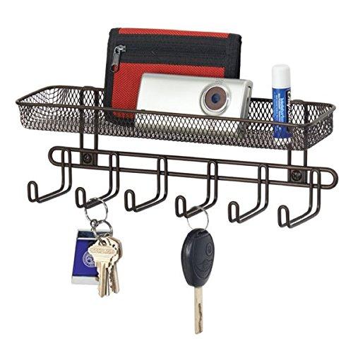 Perchero pared color negro de mDesign con estantería integrada para el recibidor - Ideal para colgar llaves, sombreros o bolsos - Fácil montaje