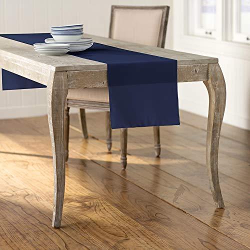 LA Linen Poplin Table Runner Camino de Mesa de popelín (poliéster, 35 x 108 Pulgadas), Color Azul Marino, 35.56 x 274.3 x 0.04 cm