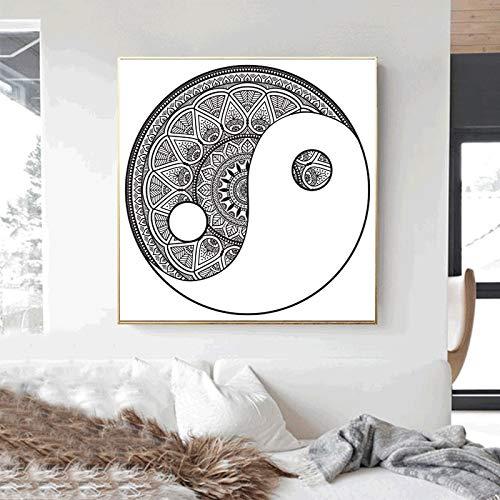 UIOLK Mandala Pintura en Lienzo en Blanco y Negro decoración del Pasillo Interior Pintura Sala de Estar Dormitorio Artista decoración del hogar