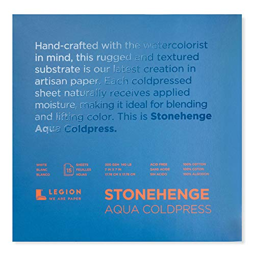 Legion Stonehenge Aqua Watercolor Block, 140lb. Cold Press, 7 by 7 inches, White, 15 Sheets (L21-SQC140WH77)
