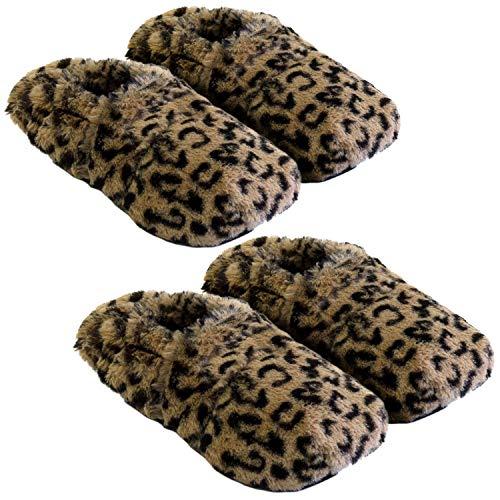 Thermo Sox 2 Paar aufheizbare Hausschuhe Gr M 36-40 Leopardenmuster Körnerpantoffeln für Mikrowelle und Ofen - Mikrowellenhausschuhe Wärmepantoffeln Wärmehausschuhe Supersoft