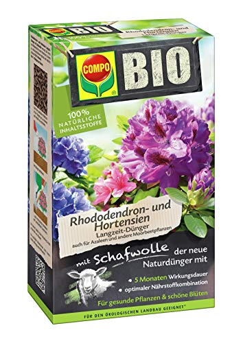 COMPO BIO Rhododendron- und Hortensiendünger für alle Rhododendren und andere Morbeetpflanzen, 5 Monate Langzeitwirkung, 750 g