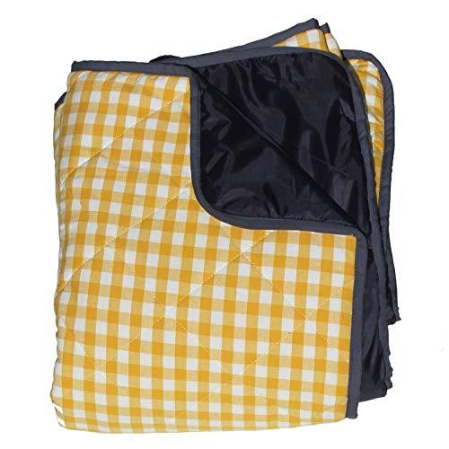 Extra große Picknickdecke - Gepolstert - Gelb Karomuster