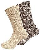 Juego de 2pares de calcetines noruegos (calcetines de lana), tejidos, unisex beige 43-46