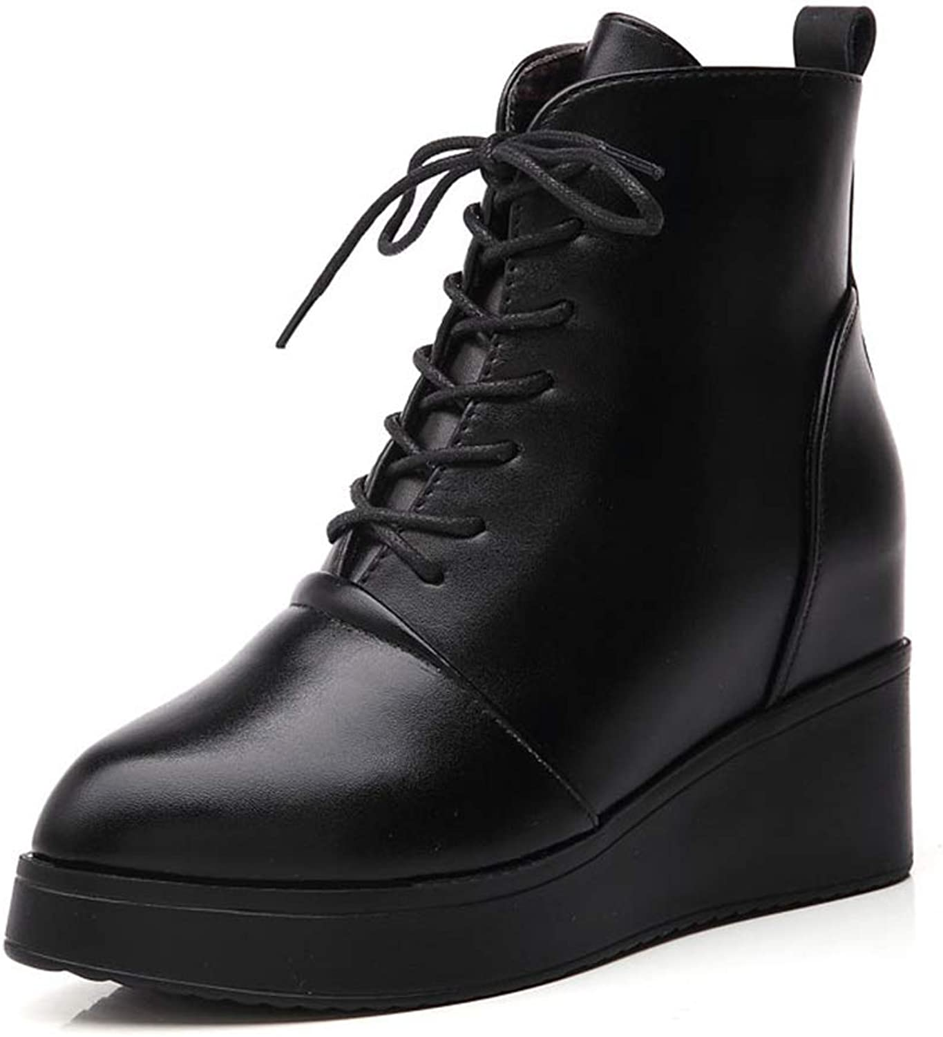 York Zhu Women Ankle Boots,Pointed Toe Low-Top Fashion Ankle Wedge Boot