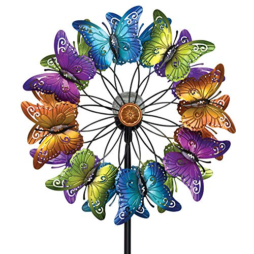 Bits and Pieces - LED Butterfly Solar Wind Spinner-Solar Powered Glass Ball Emits Color-Changing Light - Made of Metal and Steel