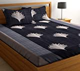 HIYANSHI HOME FURNISHING Microfiber 120 TC Double Bedsheet with 2 Pillow Covers, Colour Grey (...