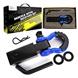AUTOBOTS Shackle Receiver 2', 35,000 Lbs Break Strength Heavy Duty Receiver with 5/8' Screw Pin, 3/4 Shackle, Towing Accessories for Vehicle Recovery Off-Road, Blue&Black