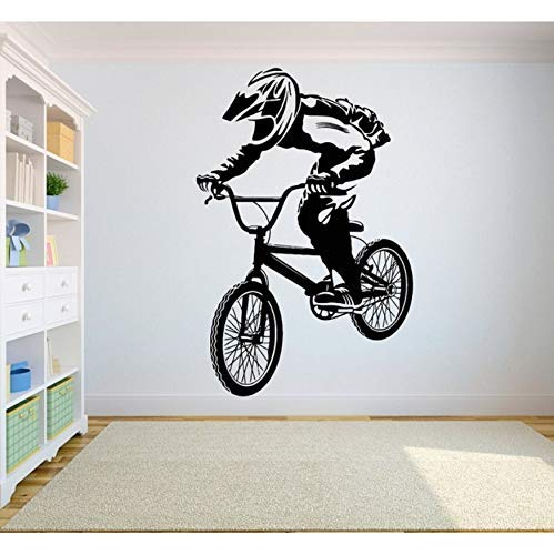 Mountainbike Wettbewerb Vinyl Wandaufkleber Off-Road Leistungssportler Jugend Schlafzimmer Dekoration Wandtattoo 57X87 Cm