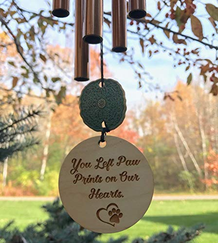 28 inch Pet Memorial Paw Prints on Our Hearts in Memory of Loss of Dog or Cat Memorial Garden or Porch Remembering Animal After Loss Outdoor Rustic