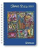 James Rizzi - Buchkalender Deluxe 2021 - Kalenderbuch A5 - Taschenkalender - teNeues-Verlag - Taschenplaner mit Spiralbindung - 17 cm x 22 cm - Kunstkalender