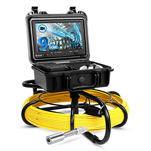 Eyoyo Pipeline Endoscope Inspection Camera 50M/164ft Underwater Industrial Pipe Sewer Drain Wall Video Plumbing System with 9 Inch LCD Monitor 1000TVL DVR Recorder Snake Cam with 8GB SD Card Included