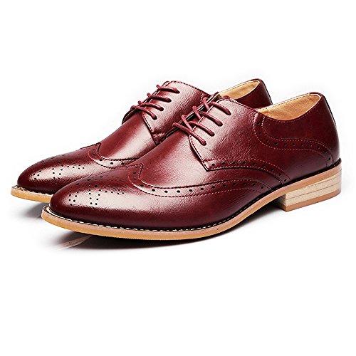 HYF Zapatos de Hombre de Negocios Mate Transpirable Talla Hueca de Cuero Genuino con Cordones de los Zapatos de Vestir Oxford Zapatos para Hombres (Color : Vino, tamaño : 25CM)