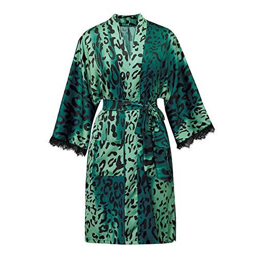 Your New Look Damen Morgenmantel Kimono Satin Kurz Nachtwäsche Bademantel Robe Schlafanzug Mit Spitze und Leopardenmuster Cardigan Nachthemd (Grün, M)