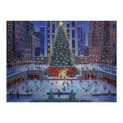 500 Piece Wooden Jigsaw Puzzle NYC Christmas Jigsaw Puzzles Fun Game Toys Birthday Gifts (Without Frame)