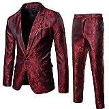 Mens 2 Piece Paisley Dress Suit One Button Party Wedding Blazer Pants Sets Burgundy