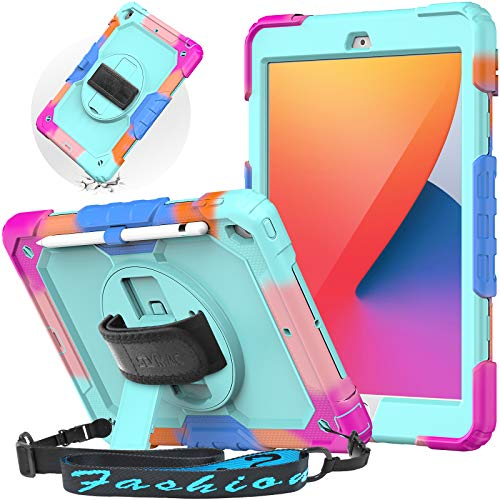 SEYMAC Rugged Case for iPad 8th Generation 2020, iPad 7th Generation 10.2 inch Case Kids with 360 Rotating Stand/Hand Strap, Shoulder Strap, Screen Protector, Pencil Holder, Multicolor+Light Blue