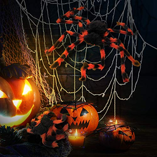 muscccm Halloween Giant Spider Web with 2 Realistic Looking Spooky Plush Big Spider Props Perfect Choice for Outdoor & Indoor Party Supplies Masquerade Bar Display Haunted House Decoration