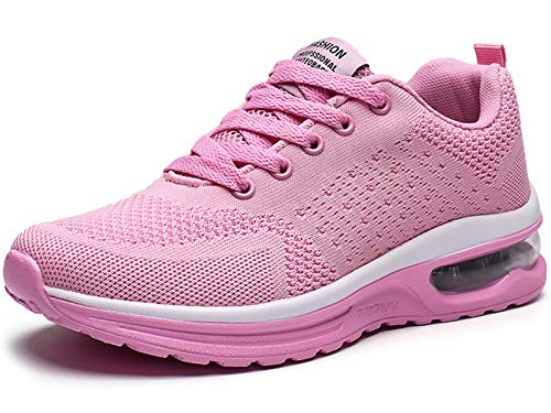 GAXmi Zapatillas Deportivas Mujer Zapatos de Malla Transpirables y Ligeros con Cordones y Cojín de Aire para Running Fitness Rosa 36.5 EU (Etiqueta 38)