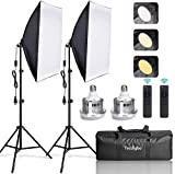 Tecdigbo Softbox Lighting Kit Photo Studio Equipment Photography Continuous Lighting 95W 2x50x70cm Reflectors and E27 Socket for Portrait Product Fashion Photography and Video