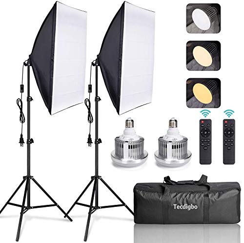 95W Softbox Iluminacion Kit Fotografia con 2 Softbox 50×70cm y 2 Bombilla de Luz 3000K-6000K Temperatura Regulable y Luz Continua E27 y Bolsa de Transporte, para Videos de Retrato