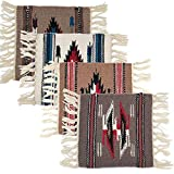 El Paso Saddleblanket Handwoven Chimayo Wool Style Mats 10 inches x 10 inches. Perfect for Classic Southwest Decoration Set of 4 (Assortment 3)