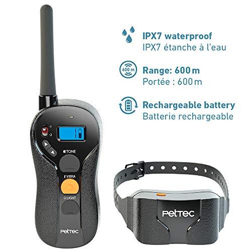 PetTec Collar de Perro Anti-ladrido, Entrenamiento Avanzado con Vibración controlado a Distancia, Radio de Alcance 600m; Vibración y Sonidos Agradables, Resistente al Agua (IPX7), Anti Polvo