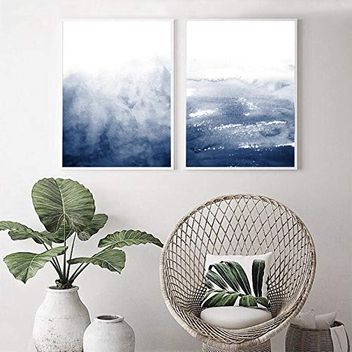 NFXOC Arte de Pared Minimalista Impresiones de Acuarela Azul Marino Imágenes de Arte índigo Lienzo Carteles Abstractos Azul Oscuro Decoración para el hogar (50x70cm) 2pcs Sin Marco