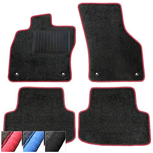 moto-MOLTICO Fußmatten Auto Velours Autoteppiche Schwarz Automatten Set 4-teilig passend für VW EOS ab 2006 (Rote - Ziernähte)