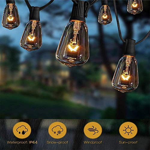 ST38 10Ft String Lights with 11 Clear Edison Light Bulbs, UL Listed E12 Base for Party Porch, Backyard Patio-Black Wire