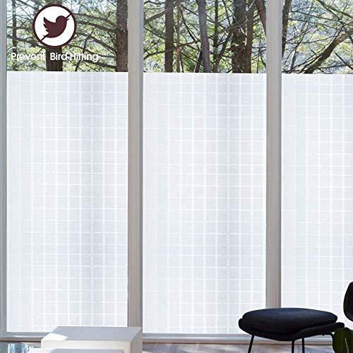TopJiMelkglas privacy raamfolie, zelfklevend statisch hechting decoratie raamsticker anti-uv voor thuis kantoor deur raam ondoorzichtig glasfolie 90x100cm(35.4x39.4inch) Controleur