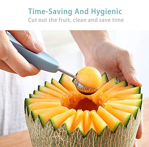 Melon Baller and Fruit Scoops Set,Great Paragon Multifunctional 3 in 1 Stainless Steel Kitchen Fruit Tools Set with Peeler/Seed Remover/Scoop (Blue)
