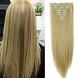 SEGO Extension a Clip Cheveux Rajout Syntetique pas Cher Lisse - 66 cm Ash Blond Mèche Blond Blanchi - [8 Piece 18 Clips] Clip in Hair