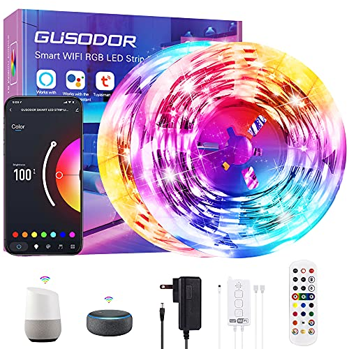 Gusodor Smart WiFi Led Light Strips 65.6ft Led Lights Work with Alexa and Google Assistant Led Lights for Bedroom Music Sync Led Strip Lights Color Change Bluetooth App Remote Control for Home Party