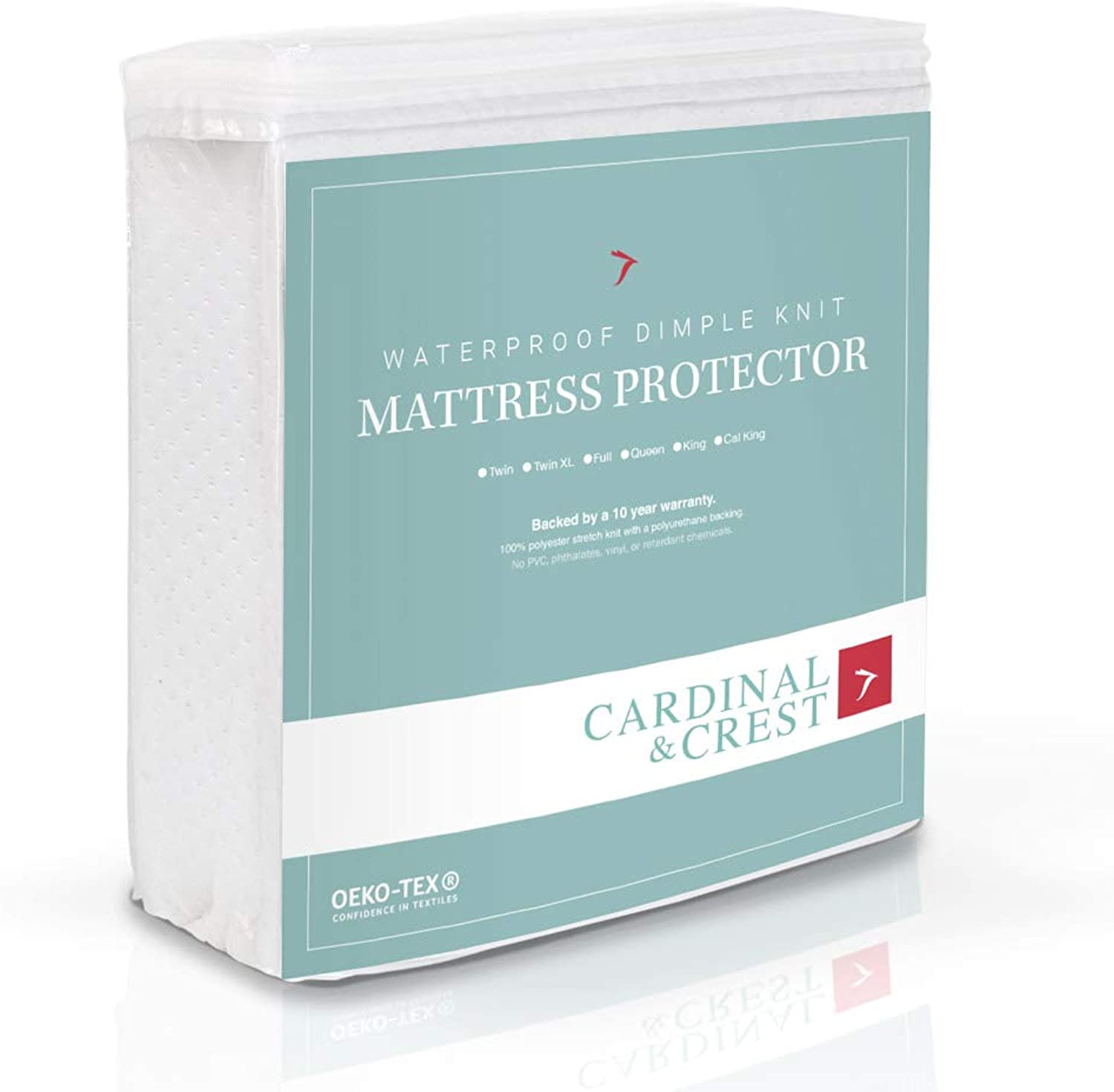 Cardinal & Crest Bed Predector - Hypoallergenic Vinyl Free Stretch Knit Mattress Pad - Dust Mite Resistant Covering - Cover Predects Bedding from Moisture Stains - Twin Size