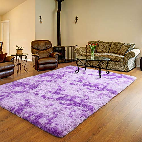 Ucomn Luxury Velvet Shag Area Rug Soft Modern Fluffy Fur Rugs,Premium Geometric Moroccan Floor Rugs for Bedroom Living Girls Room Kids Indoor Carpet, 5' x 8', Purple