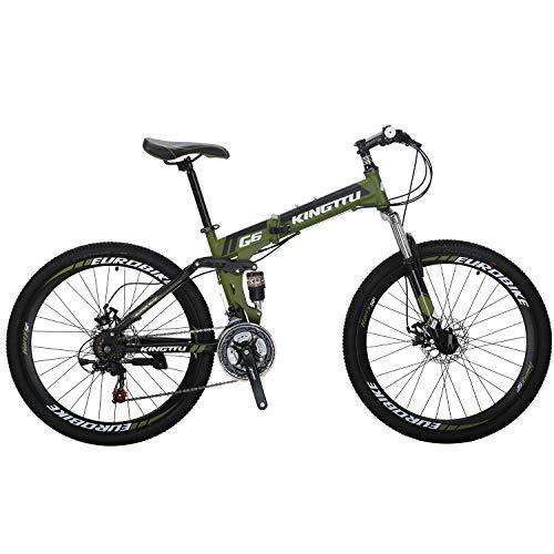"""26"""" Full Suspension Mountain Bike 21 Speed Folding Bicycle Men or Women MTB (G6 ArmyGreen)"""
