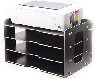 DESTDOU Support de fichier de bureau 4 couches, bibliothèque de bureau multicouche en bois boîte de stockage de papier A3 ...