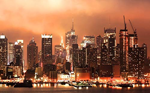 New York City - HDR Image of the Midtown Manhattan Skyline at Night A-9013209 (9x12 Art Print, Wall Decor Travel Poster)