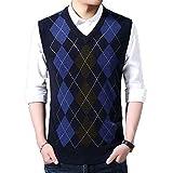 HEQU Men's Argyle V-Neck Sweater