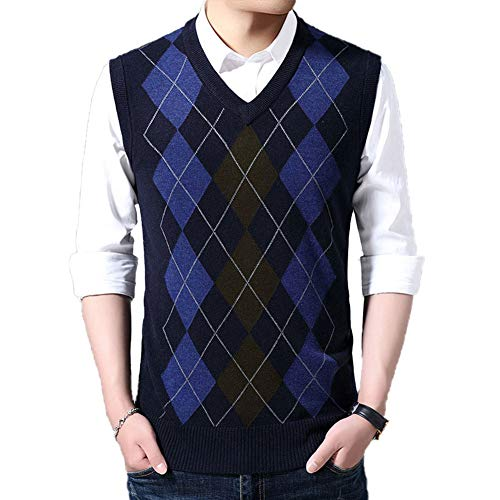 HEQU Men's Argyle V-Neck Sweater Casual Vest V-Neck Golf Sweater Vest(3XL Navy)
