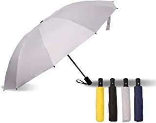 l Compact Reverse Inverted Umbrella - 10 Ribs, Lightweight, Strong Windproof, 210T Black Coated Pongee with Teflon Coating (UV Protection), Automatic Auto Open/Close Button (Grey)