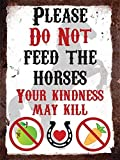 Please Do Not Feed The Horses - Vintage Metal Wall Sign by Finger prints