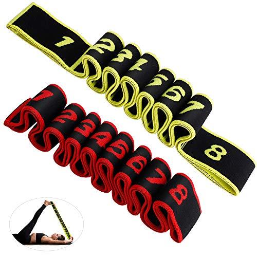 Cinghia Yoga, hicoosee Cinturino per Esercizi per Lo Stretching Cintura Elastica Regolabile per Allenamento Fitness, Danza 2 Pezzi