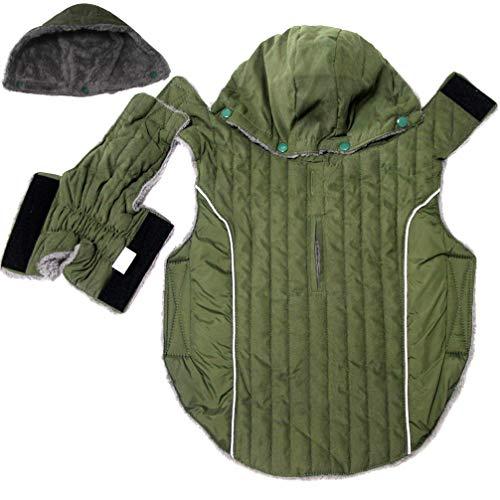 JoyDaog Sudadera de forro polar para perros grandes, chaqueta para perros grandes, chaqueta para perros fríos, abrigos de perro, color verde XL