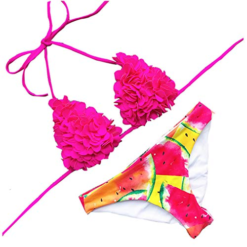 Roroyi Women's Bikini Set, Women Push Up Top 3D Effect Bikini Set Swimwear Handmade Flowers 2Pcs Swimsuit Beachwear Bathing Suit (M, Hot Pink)