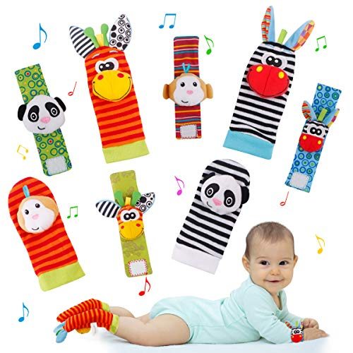 FancyWhoop Baby Socks Toys Wrist Rattle and Foot Finder Developmental Early Educational Toys Set Gift for Infant Newborn Girl amp Boy 03 36 Months 8 PCS