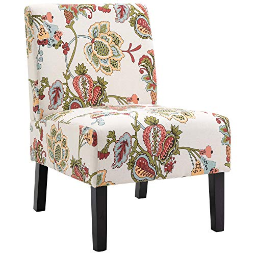 HOMCOM Linen Fabric Dining Chair with Pine Wood Legs and Sponge Padded Cushion, for Living Room, Dining Room, Office, Dorm, Flower Pattern