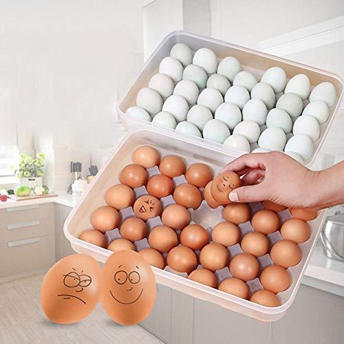 Yunhigh Bandeja de 34 Rejillas para Huevos para el refrigerador, Recipiente Grande de plástico para bandejas de Huevos con Tapa Apilable Contenedor de Caja de Almacenamiento de Huevos de Pato
