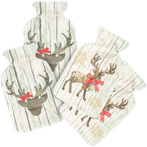 com-four® 4X Scaldamuscoli tascabili - Scaldamuscoli a Mano nel Design della Bottiglia dell'Acqua Calda - Termoforo Tascabile con Vari Motivi di Cervo [la Selezione Varia] (Cervo)